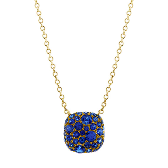 Traditional Blue Sapphire Cluster Necklace (18 in)