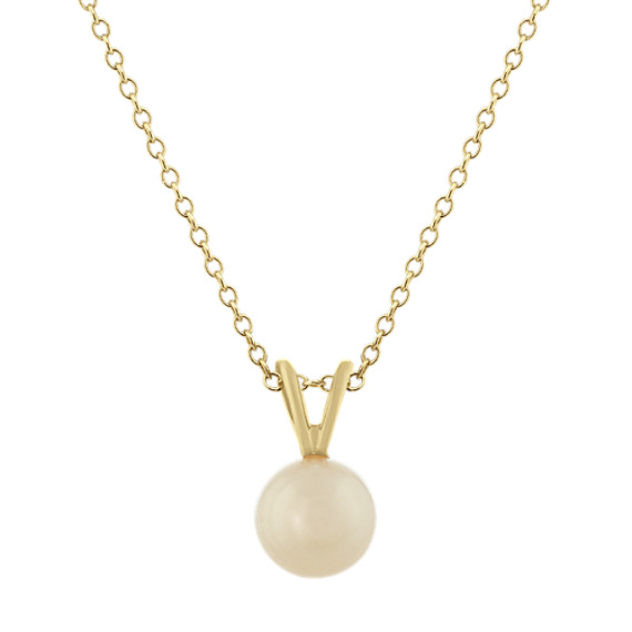 7mm White Freshwater Pearl Pendant (18 in)