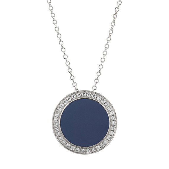 Blue Enamel and Diamond Circle Necklace (18 in)