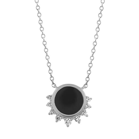 Black Enamel and Diamond Necklace in 14k White Gold (18 in)