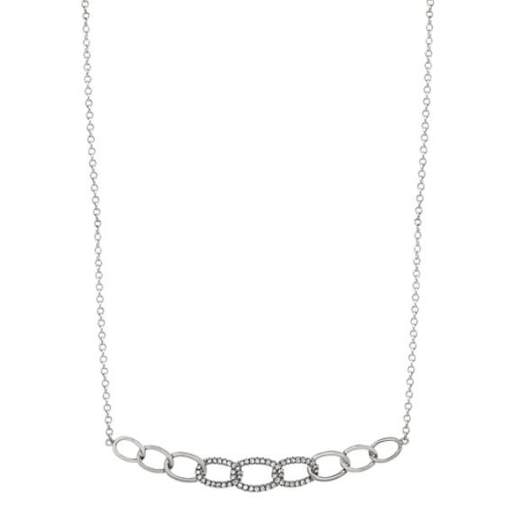 Diamond Link Necklace in 14k White Gold (18 in)
