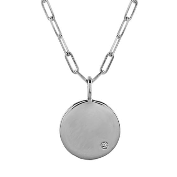 Diamond Disk Pendant in Sterling Silver (24 in)