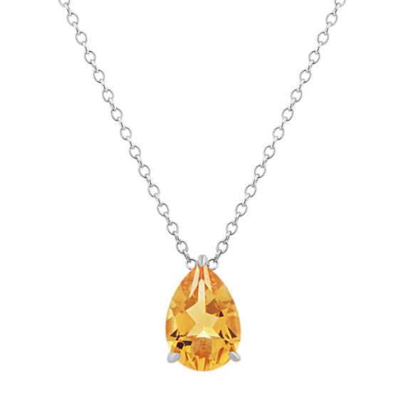 Pear-Shaped Citrine Pendant (20 in)