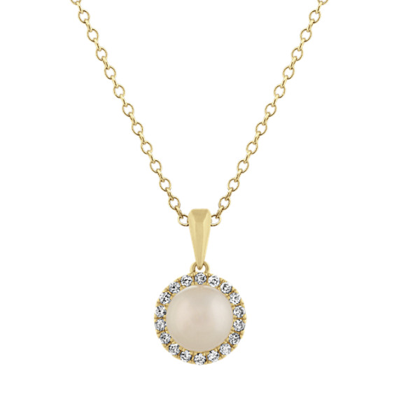 7mm Freshwater Pearl and Diamond Pendant (18 in)