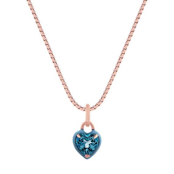 London Blue Topaz Pendant in 14k Rose Gold (18 in)