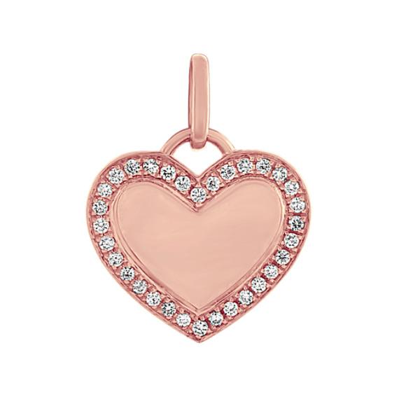 Diamond Heart Charm in 14k Rose Gold