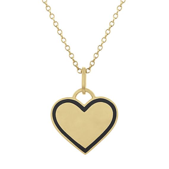 Black Enamel Heart Pendant in 14k Yellow Gold (18 in)