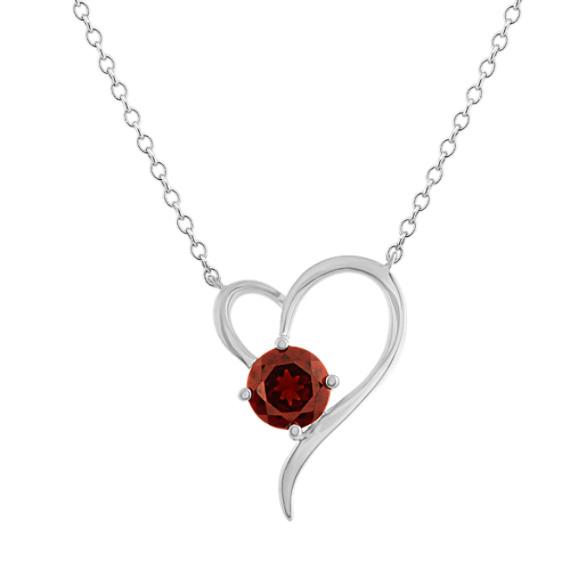 Garnet Heart Necklace in Sterling Silver (18 in)