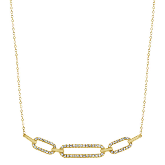 Diamond Link Necklace in 14k Yellow Gold (18 in)