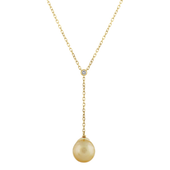 10mm Golden Baroque Pearl and Diamond Y Necklace in 14k Yellow Gold (18 in)