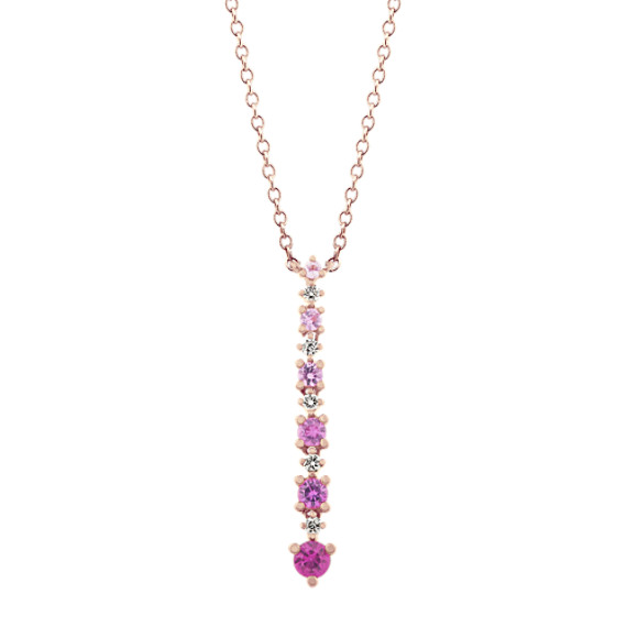 Ombre Pink Sapphire and Diamond Pendant (18 in)