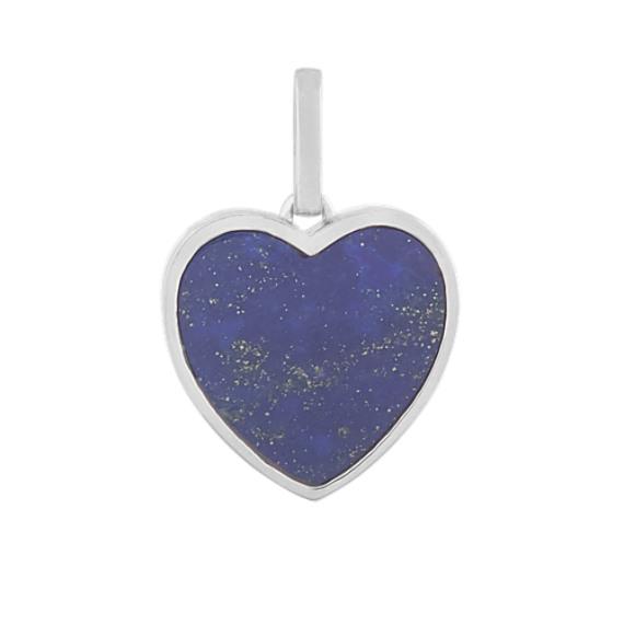Blue Lapis Heart Charm in 14k White Gold