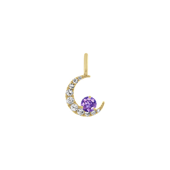 Crescent Moon White Sapphire Charm in 14k Yellow Gold