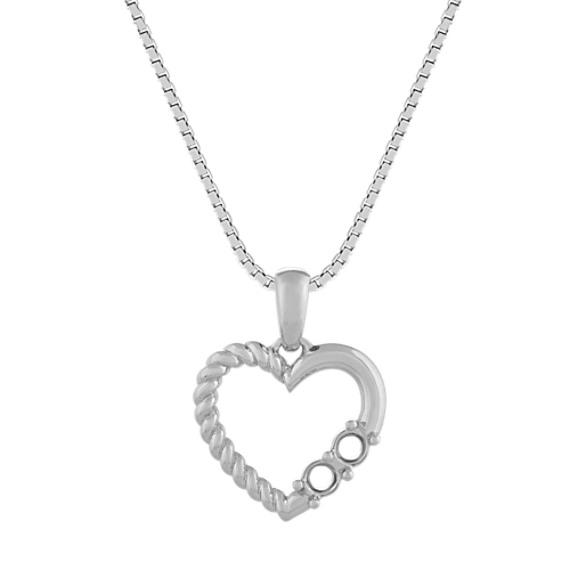 Lovely Heart Pendant in 14k White Gold (18 in)