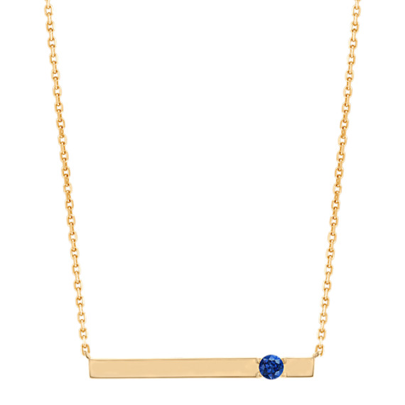 Bar Necklace for 3mm Gemstone in 14k Yellow Gold (20 in)