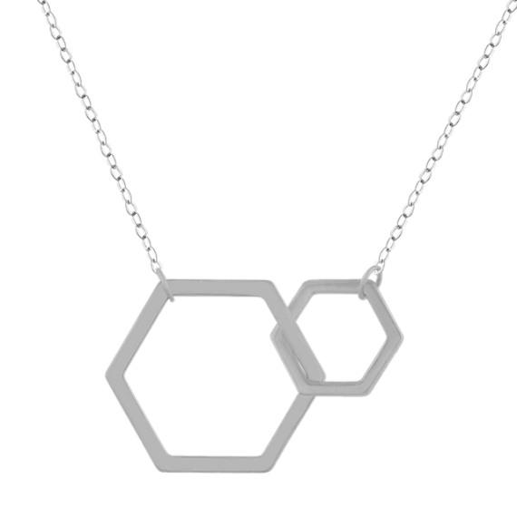 Honeycomb Pendant in 14K White Gold (18 in)