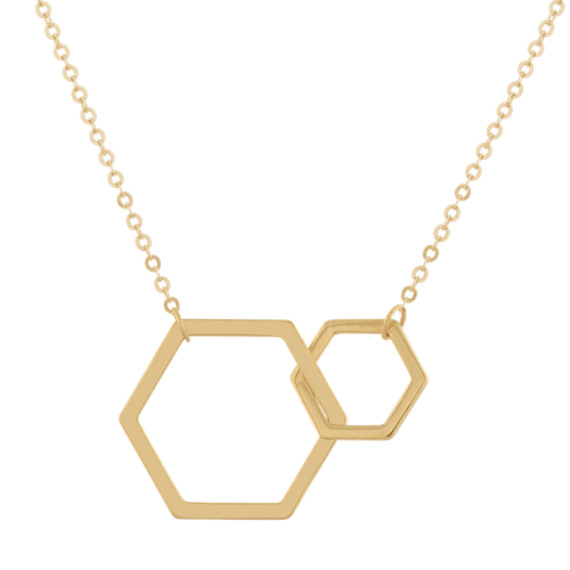 Honeycomb Pendant in 14K Yellow Gold (18 in)