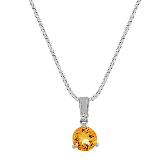 Citrine and Diamond Pendant in 14k White Gold (18 in)