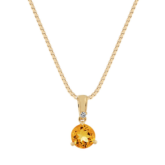 Citrine and Diamond Pendant in 14k Yellow Gold (18 in)