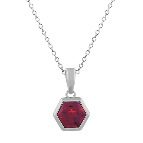 Hexagon Garnet Pendant in Sterling Silver (18 in)