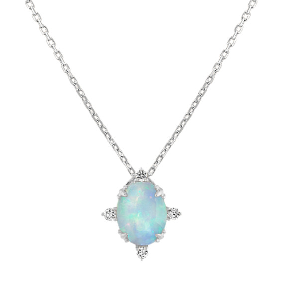 Opal and Diamond Pendant in 14K White Gold (18 in)