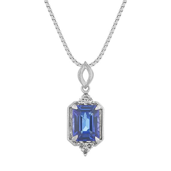Blue Tanzanite and Diamond Pendant (20 in)