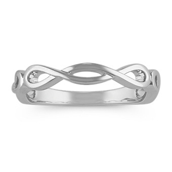 14k White Gold Infinity Wedding Band