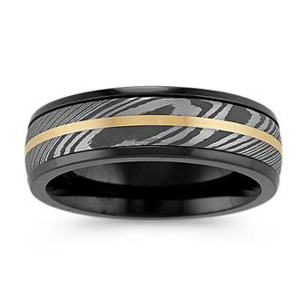Damascus Steel Black Zirconium And 14k Yellow Gold Mens Ring 7mm