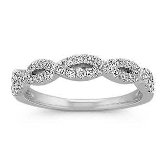Diamond Twisted Infinity Wedding Band