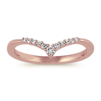 Diamond V' Wedding Band in 14k Rose Gold