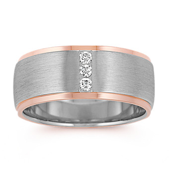 Diamond Wedding Band In 14k White And Rose Gold 9mm