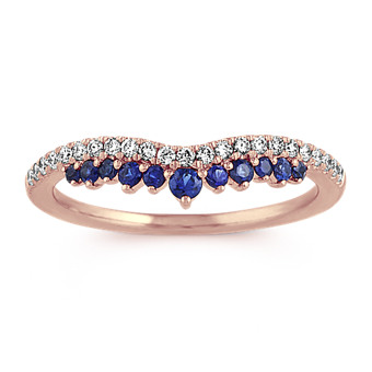 Diamond and Traditional Blue Sapphire Contour Wedding Band