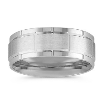 Engraved 14k White Gold Comfort Fit Ring 8mm