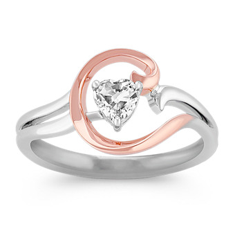 55fe6a09c Heart-Shaped White Sapphire Ring in 14k Rose Gold and Sterling Silver