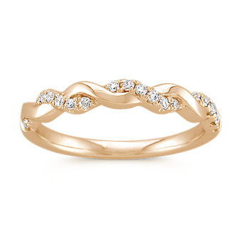Infinity Diamond and 14k Yellow Gold Wedding Band