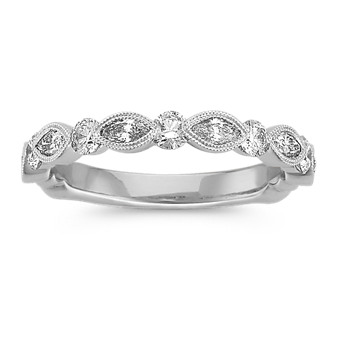 Marquise and Round Diamond Wedding Band