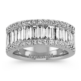 Pave-Set Baguette and Round Diamond Wedding Band