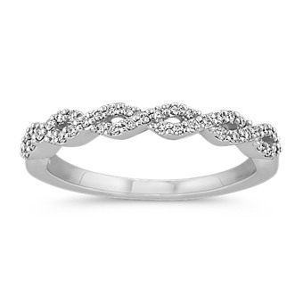 Pave Set Diamond Wedding Band with Close-Knit Infinity Design
