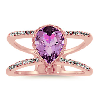 Amethyst And Diamond Double Band Ring