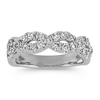 Round Diamond Infinity Wedding Band