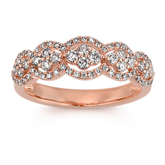 Round Diamond Ring in 14k Rose Gold with Pave-Setting