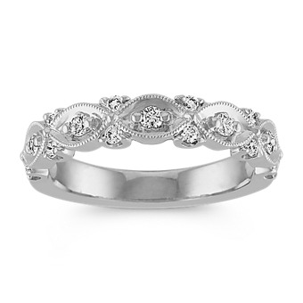 Round Diamond and White Gold Milgrain Wedding Band