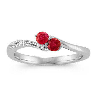 43270d80bebb Round Ruby and Diamond Two-Stone Ring in 14k White Gold