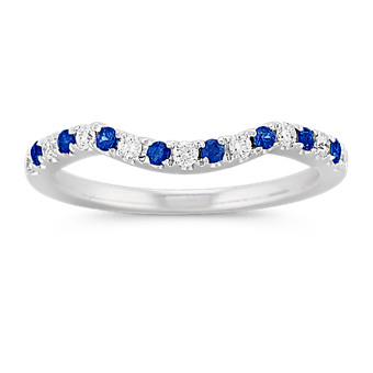 Round Sapphire and Diamond Contour Dipped Wedding Band