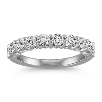 Round Ten-Stone Diamond Wedding Band in White Gold