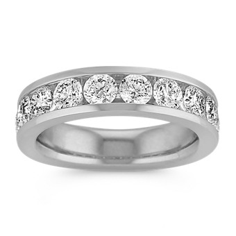 Ten-Stone Round Diamond Wedding Band with Channel-Setting