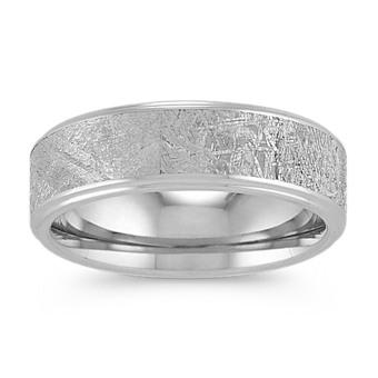 Textured Meteorite And Cobalt Wedding Band 7mm