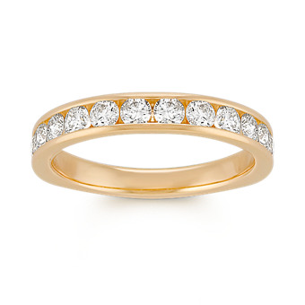 Twelve-Stone Round Diamond Wedding Band in Yellow Gold with Channel-Setting