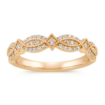 Vintage Diamond Wedding Band in 14k Yellow Gold