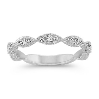 Vintage Engraved Round Diamond Wedding Band in 14k White Gold